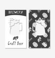 hand drawn silhouettes brewery business cards vector image vector image