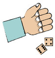 hand human with dices game vector image vector image