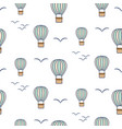 hot air balloons and birds seamless pattern vector image vector image
