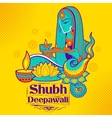 Lady burning diya on happy Diwali Holiday doodle vector image vector image