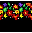 Large colorful flowers on black horizontal vector image vector image