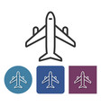 line icon of plane in different variants vector image vector image