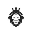 lion head with crown vector image vector image