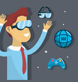 man inside virtual reality and futuristic game vector image vector image