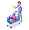 man with shopping cart on wheels with colorful vector image vector image