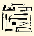 mechanic hand tools kit silhouette vector image