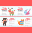 merry christmas and happy new year animals set vector image