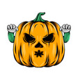 monster yellow pumpkin with two hands vector image vector image
