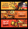 music concert banners sketch instruments vector image vector image
