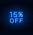 Neon 15 off text banner night sign