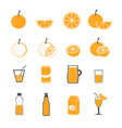 orange and juice icons set vector image