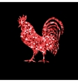 Red glitter rooster on black background vector image