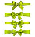 Satin green ribbons Gift bows vector image vector image