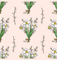 seamless pattern with hand drawn narcissus and vector image