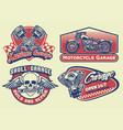 set bagde design vintage motorcycle vector image vector image