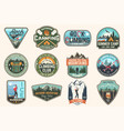 set rock climbing club and summer camp badges vector image