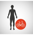 silhouette man fitness bicycle vector image