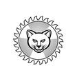 smiling cougar circular saw blade icon retro vector image