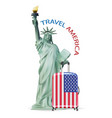 statue liberty with america usa flag luggage vector image