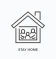 stay home domestic quarantine line icon vector image