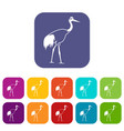 Stork icons set vector image