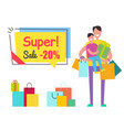 super sale promo sticker tag man son shopping bag vector image vector image