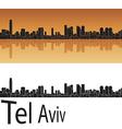 Tel Aviv skyline in orange background vector image