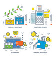 types of investments e-commerce and credit card vector image vector image