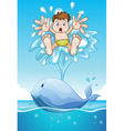 whale and boy vector image vector image