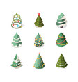 xmas tree stylized new year decorated plants vector image