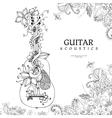 zentangl guitar with flowers vector image