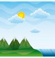landscape mountains peak river clouds sun vector image
