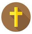 The Christian Cross Circle Icon with long Shadow vector image