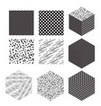 cube shapes with patterns set vector image