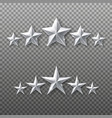 5 silver stars rating set isolated on transparent