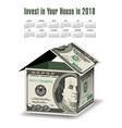 a house made out of 100 dollar bills vector image vector image