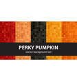 abstract pattern set perky pumpkin seamless vector image