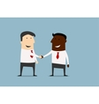 Black and caucasian businessmen handshake vector image