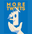 blue bird tweet mobile devise in hand more vector image vector image