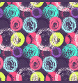 bright color grunge scratched circles pattern vector image