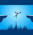 businessman walking tightrope across the gap vector image vector image