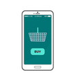 buy now button on smartphone screen metal basket vector image vector image