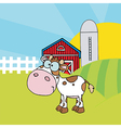 Calf Different Color White In Front Of Farm vector image vector image