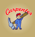carpenter retro cartoon vector image vector image