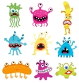 Cartoon cute and funny monsters and bacterias vector image