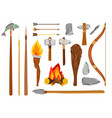 cartoon stone age tools vector image vector image