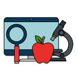 computer desktop with magnifying glass and apple vector image