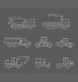 construction machines icons set thin line style vector image vector image