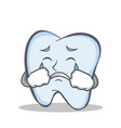 crying tooth character cartoon style vector image vector image