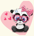cute panda girl in sunglasses vector image vector image